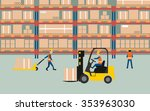 graphic of working in warehouse   Shutterstock .eps vector #353963030