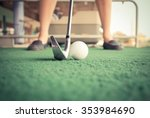 Close Up Girl Tee Off At Golf...
