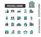 houses  home  buildings  icons  ... | Shutterstock .eps vector #353992484