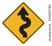 winding road sign isolated on... | Shutterstock . vector #354005780