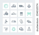 logging line icons in squares ... | Shutterstock .eps vector #354010574