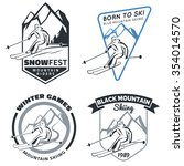 set of winter mountain ski... | Shutterstock .eps vector #354014570