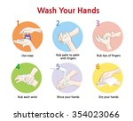 six steps of how to wash your... | Shutterstock .eps vector #354023066