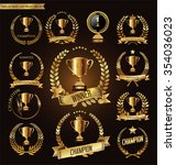 trophy and awards golden badges ... | Shutterstock .eps vector #354036023