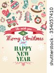 cute christmas greeting card... | Shutterstock .eps vector #354057410