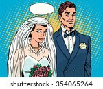 bride and groom wedding... | Shutterstock .eps vector #354065264