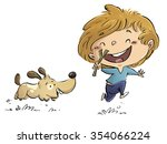 boy running with his dog   Shutterstock . vector #354066224