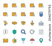 cargo and shipping color icons... | Shutterstock .eps vector #354079793