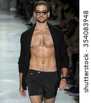 Small photo of NEW YORK, NY - JULY 15, 2015: Jacob Burton walks at Michael Bastian Runway at New York Fashion Week Men's Spring Summer 2016 at Skylight Clarkson Sq