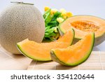 cantaloupe melon on the wooden... | Shutterstock . vector #354120644