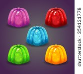 colorful shiny jelly set on the ...