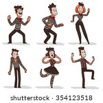 set of funny cartoon mimes.... | Shutterstock .eps vector #354123518