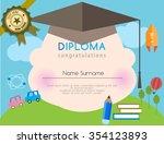 kids diploma preschool... | Shutterstock .eps vector #354123893