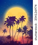 retro style full moon rise with ... | Shutterstock .eps vector #354126974