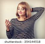 happy natural emotion woman... | Shutterstock . vector #354144518