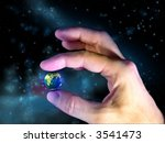 male hand holding planet earth. ... | Shutterstock . vector #3541473