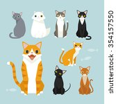 Sitting Cute Vector Cats. Whit...