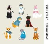dressed cute vector cats. flat... | Shutterstock .eps vector #354157556