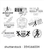 running club labels  emblems... | Shutterstock .eps vector #354166034