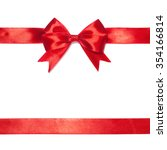 shiny red satin ribbon on white ... | Shutterstock . vector #354166814