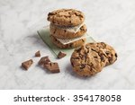 chocolate cookies in a white... | Shutterstock . vector #354178058