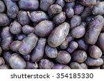 organic purple potato display... | Shutterstock . vector #354185330