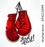 just start. red boxing gloves.... | Shutterstock .eps vector #354212099