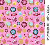 seamless pattern sweets. bright ... | Shutterstock .eps vector #354212189