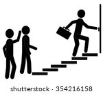 people moving up the steps to...   Shutterstock .eps vector #354216158