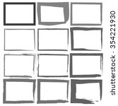 set grunge black frames on a... | Shutterstock . vector #354221930