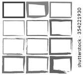 set grunge black frames on a... | Shutterstock . vector #354221930