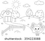 rural landscape with barn ... | Shutterstock . vector #354223088