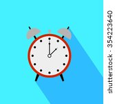 red alarm clock icon with shadow | Shutterstock .eps vector #354223640