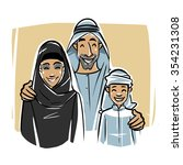 happy arabic family illustration | Shutterstock .eps vector #354231308
