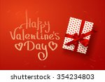 vector gift box with hearts ... | Shutterstock .eps vector #354234803