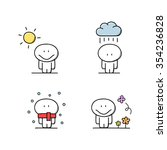 cute man with the sun  rain ... | Shutterstock .eps vector #354236828