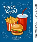 french fries  hamburger and... | Shutterstock .eps vector #354257288