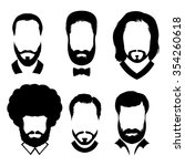 silhouettes of men with beard... | Shutterstock . vector #354260618
