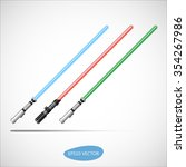 Three Colored Light Swords, Energy Sword - Futuristic Energy Weapon. Isolated Vector Illustration