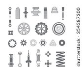 auto spare parts flat icons set ... | Shutterstock .eps vector #354287300