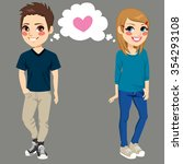 teenager boy and girl secretly... | Shutterstock .eps vector #354293108