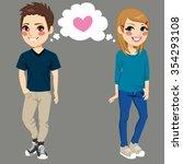 teenager boy and girl secretly... | Shutterstock .eps vector #354293108