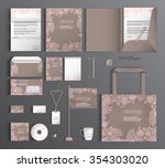 corporate identity with floral... | Shutterstock .eps vector #354303020