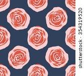 roses pattern hand draw   Shutterstock .eps vector #354319520