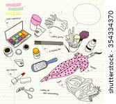 cosmetics goods  assortment of...   Shutterstock .eps vector #354334370