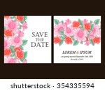 invitation with floral... | Shutterstock .eps vector #354335594
