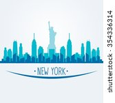 new york city skyline detailed... | Shutterstock .eps vector #354336314
