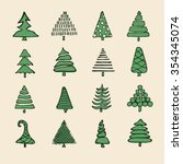 icons set of vector hand drawn... | Shutterstock .eps vector #354345074