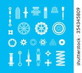 auto spare parts flat icons set ... | Shutterstock .eps vector #354345809