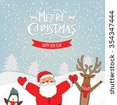 santa claus with animals deer... | Shutterstock .eps vector #354347444